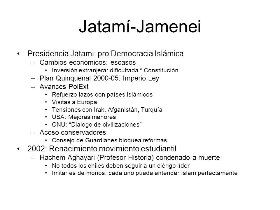 Jatamí-Jamenei Presidencia Jatami: pro Democracia Islámica –Cambios económicos: escasos Inversión extranjera: dificultada * Constitución –Plan Quinque