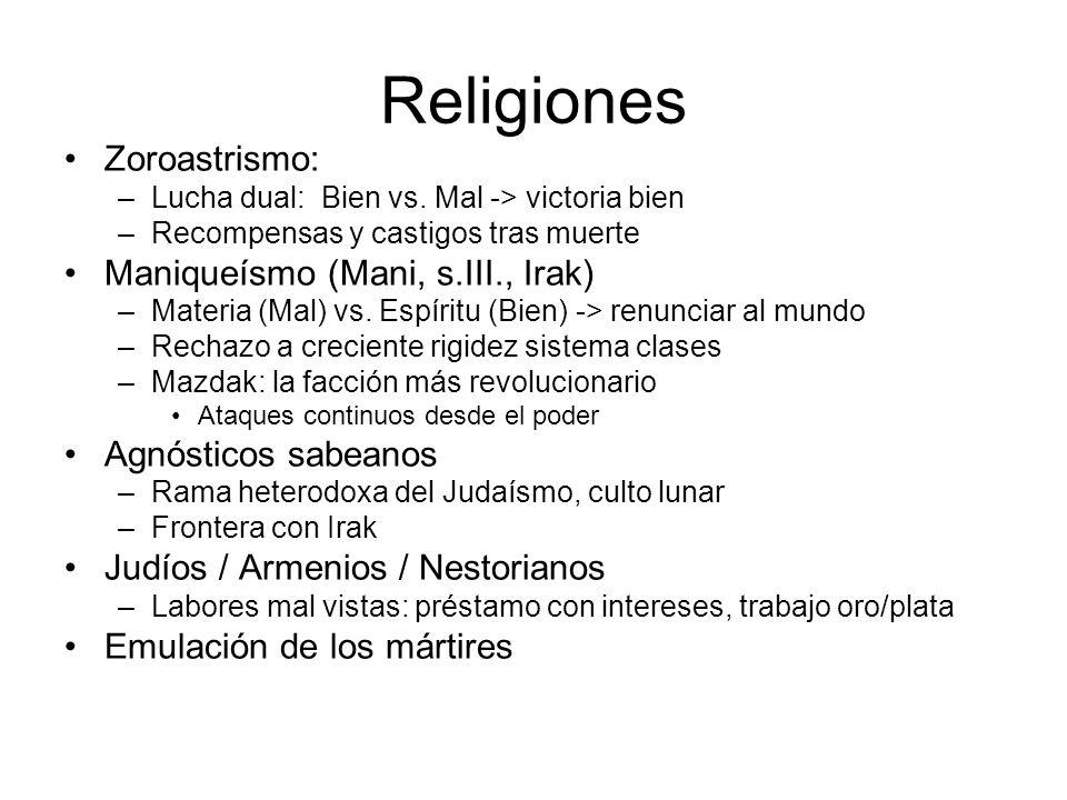 Religiones Zoroastrismo: –Lucha dual: Bien vs. Mal -> victoria bien –Recompensas y castigos tras muerte Maniqueísmo (Mani, s.III., Irak) –Materia (Mal