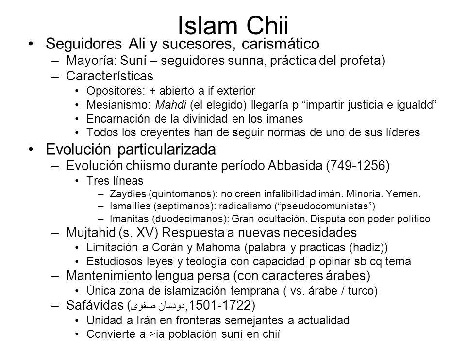 Islam Chii Seguidores Ali y sucesores, carismático –Mayoría: Suní – seguidores sunna, práctica del profeta) –Características Opositores: + abierto a i