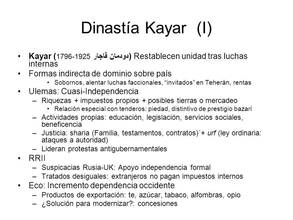 Dinastía Kayar (I) Kayar ( 1796-1925 دودمان قاجار) Restablecen unidad tras luchas internas Formas indirecta de dominio sobre país Sobornos, alentar lu