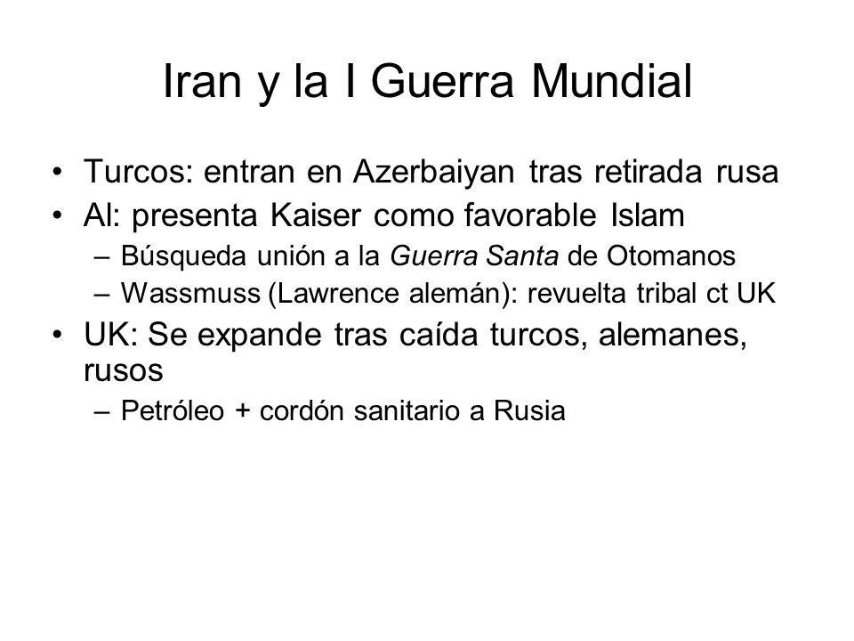 Iran y la I Guerra Mundial Turcos: entran en Azerbaiyan tras retirada rusa Al: presenta Kaiser como favorable Islam –Búsqueda unión a la Guerra Santa