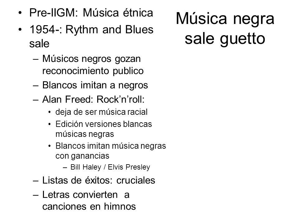 Música negra sale guetto Pre-IIGM: Música étnica 1954-: Rythm and Blues sale –Músicos negros gozan reconocimiento publico –Blancos imitan a negros –Al