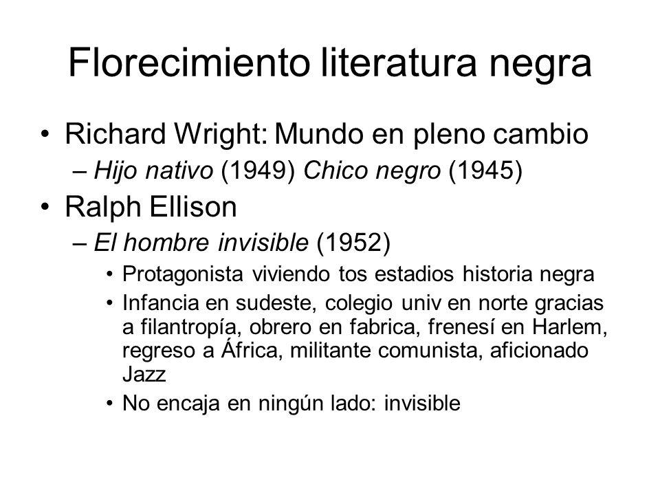 Florecimiento literatura negra Richard Wright: Mundo en pleno cambio –Hijo nativo (1949) Chico negro (1945) Ralph Ellison –El hombre invisible (1952)