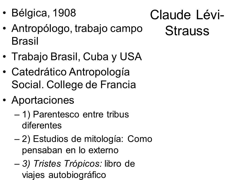 Claude Lévi- Strauss Bélgica, 1908 Antropólogo, trabajo campo Brasil Trabajo Brasil, Cuba y USA Catedrático Antropología Social. College de Francia Ap