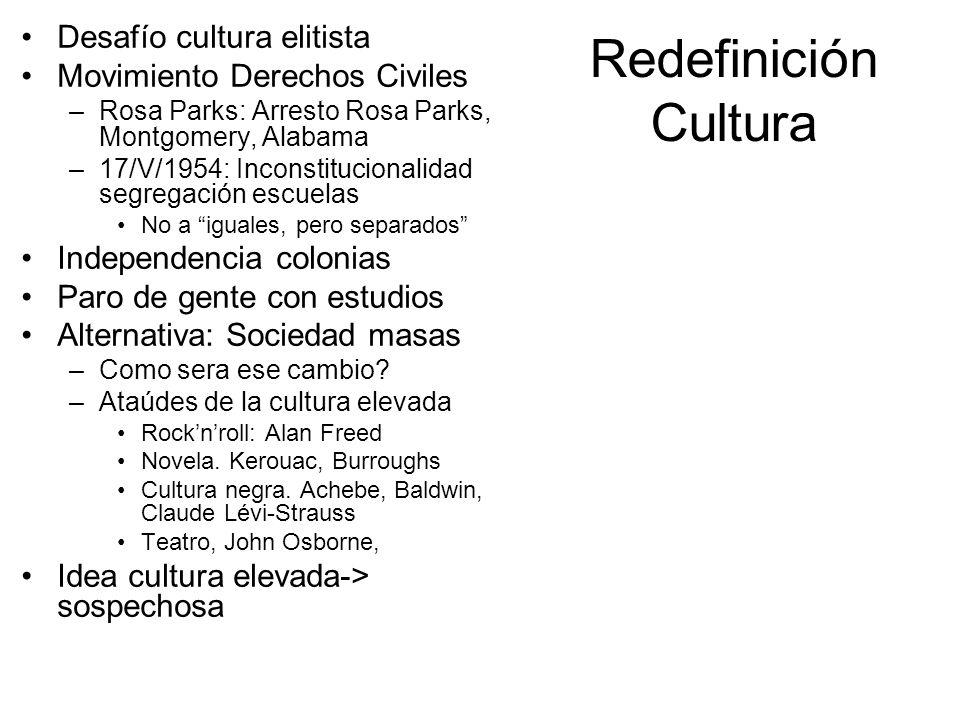 Redefinición Cultura Desafío cultura elitista Movimiento Derechos Civiles –Rosa Parks: Arresto Rosa Parks, Montgomery, Alabama –17/V/1954: Inconstituc