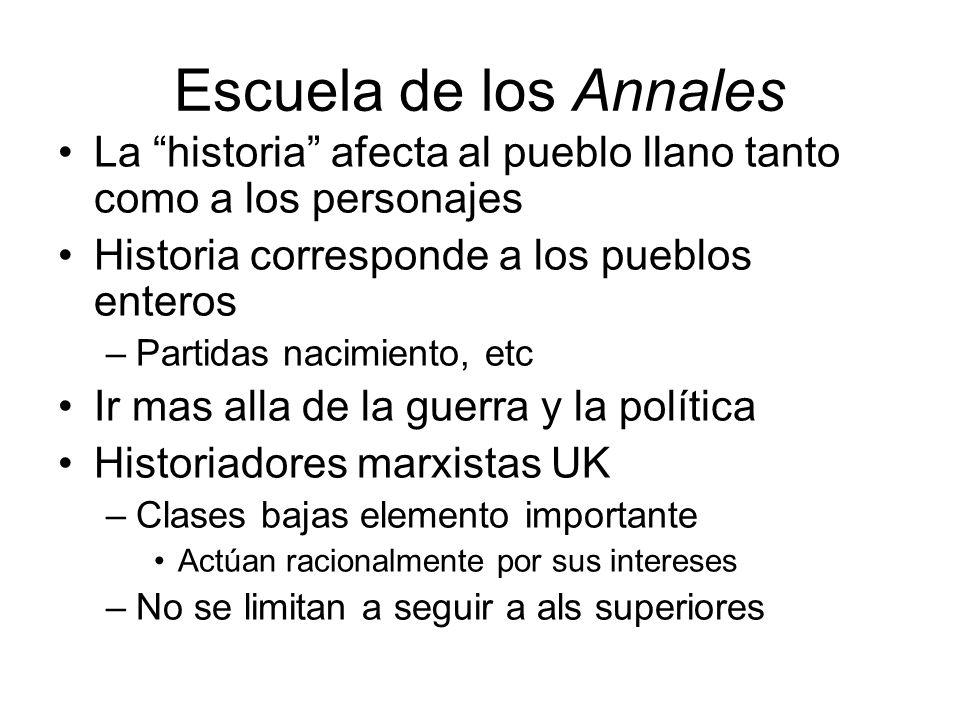 Escuela de los Annales La historia afecta al pueblo llano tanto como a los personajes Historia corresponde a los pueblos enteros –Partidas nacimiento,