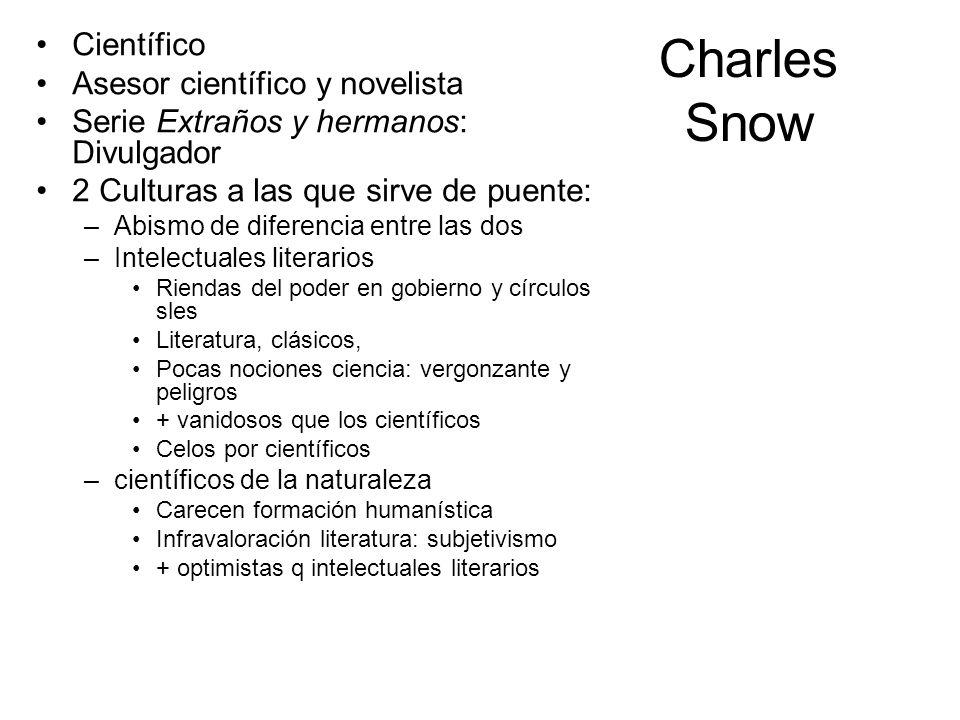 Charles Snow Científico Asesor científico y novelista Serie Extraños y hermanos: Divulgador 2 Culturas a las que sirve de puente: –Abismo de diferenci