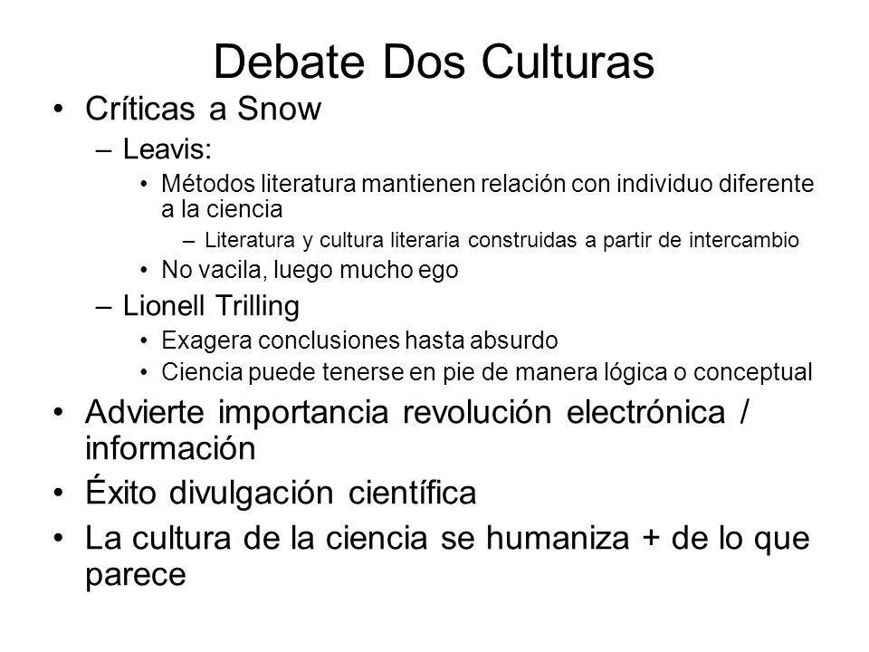 Debate Dos Culturas Críticas a Snow –Leavis: Métodos literatura mantienen relación con individuo diferente a la ciencia –Literatura y cultura literari