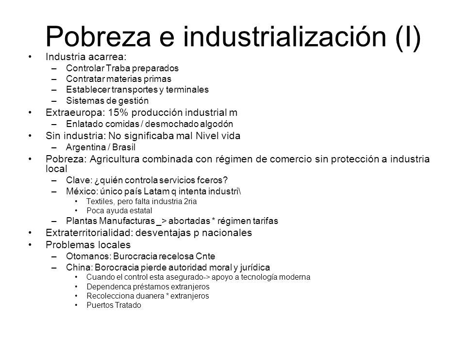 Pobreza e industrialización (I) Industria acarrea: –Controlar Traba preparados –Contratar materias primas –Establecer transportes y terminales –Sistem