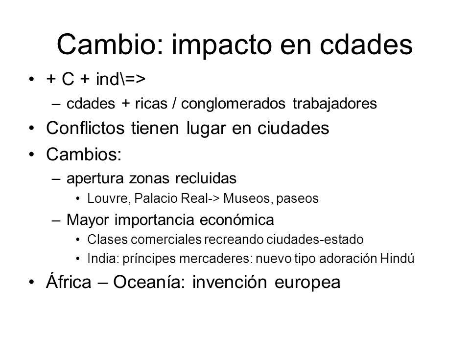 Cambio: impacto en cdades + C + ind\=> –cdades + ricas / conglomerados trabajadores Conflictos tienen lugar en ciudades Cambios: –apertura zonas reclu