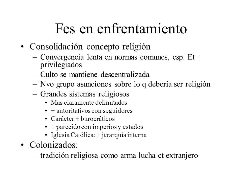 Fes en enfrentamiento Consolidación concepto religión –Convergencia lenta en normas comunes, esp. Et + privilegiados –Culto se mantiene descentralizad