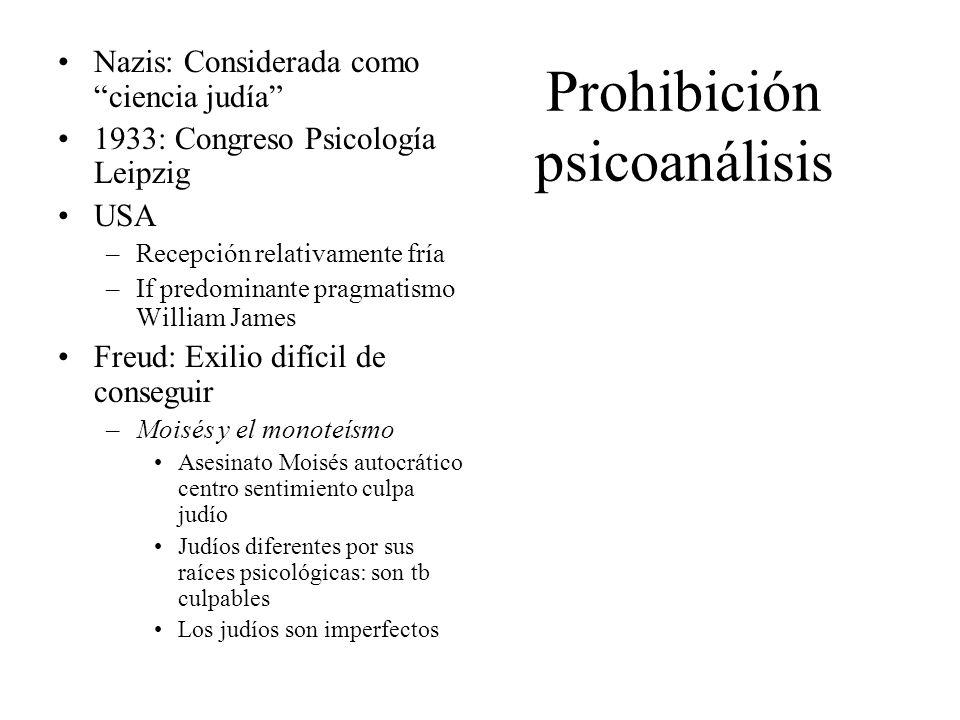 Prohibición psicoanálisis Nazis: Considerada como ciencia judía 1933: Congreso Psicología Leipzig USA –Recepción relativamente fría –If predominante p
