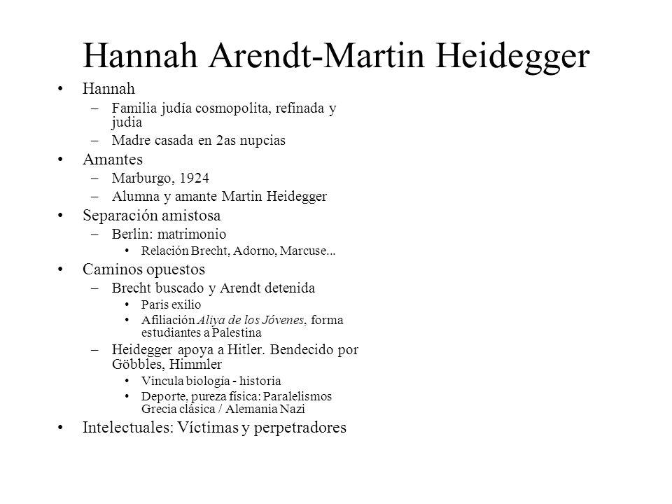 Hannah Arendt-Martin Heidegger Hannah –Familia judía cosmopolita, refinada y judia –Madre casada en 2as nupcias Amantes –Marburgo, 1924 –Alumna y aman