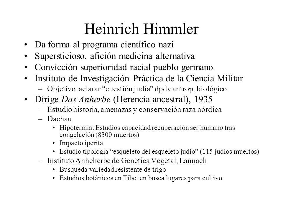 Heinrich Himmler Da forma al programa científico nazi Supersticioso, afición medicina alternativa Convicción superioridad racial pueblo germano Instit