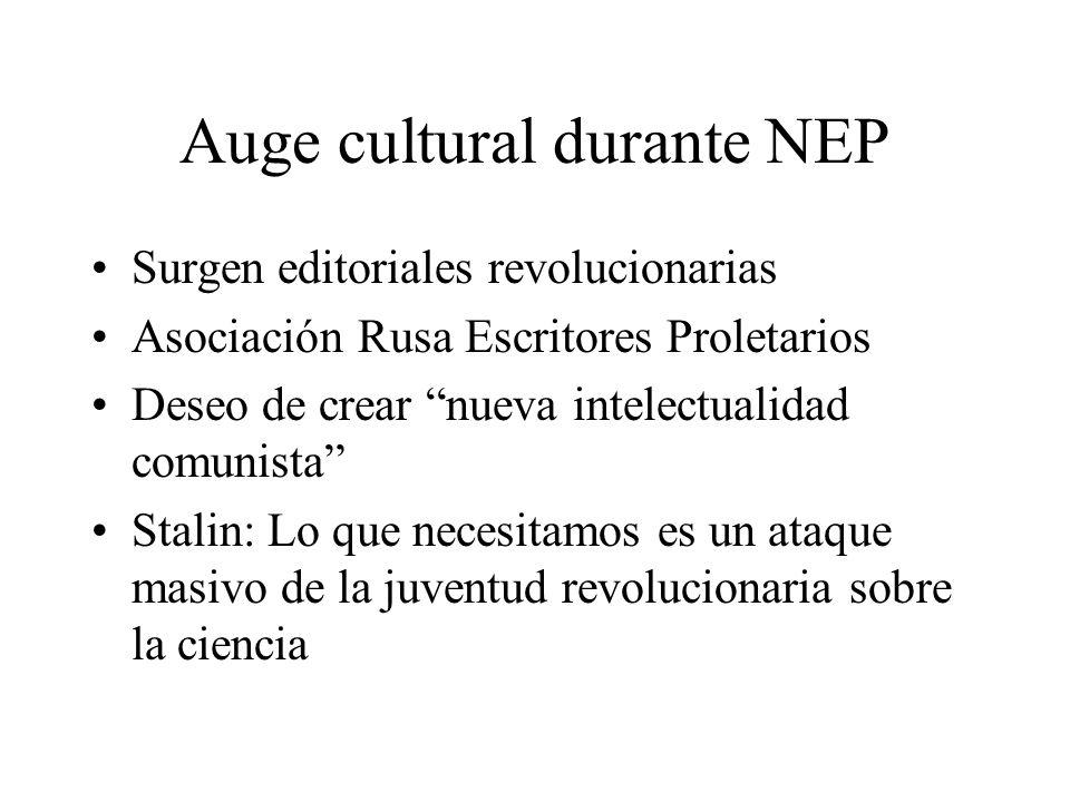 Auge cultural durante NEP Surgen editoriales revolucionarias Asociación Rusa Escritores Proletarios Deseo de crear nueva intelectualidad comunista Sta