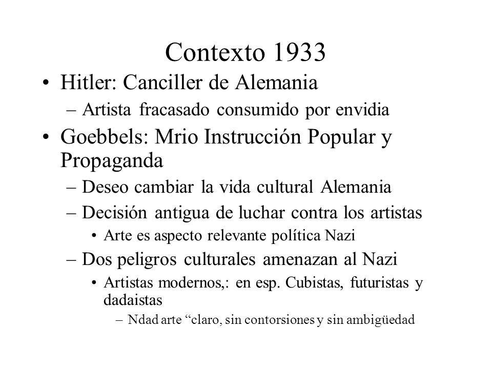 Contexto 1933 Hitler: Canciller de Alemania –Artista fracasado consumido por envidia Goebbels: Mrio Instrucción Popular y Propaganda –Deseo cambiar la