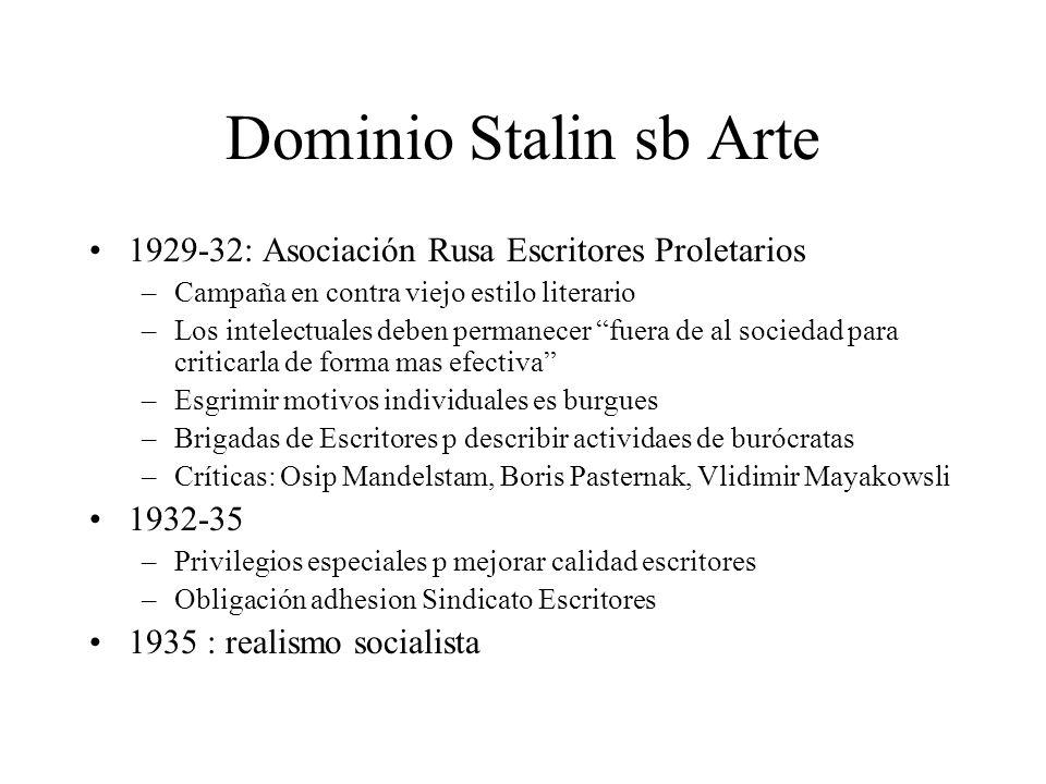 Dominio Stalin sb Arte 1929-32: Asociación Rusa Escritores Proletarios –Campaña en contra viejo estilo literario –Los intelectuales deben permanecer f