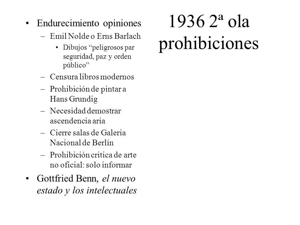 1936 2ª ola prohibiciones Endurecimiento opiniones –Emil Nolde o Erns Barlach Dibujos peligrosos par seguridad, paz y orden público –Censura libros mo