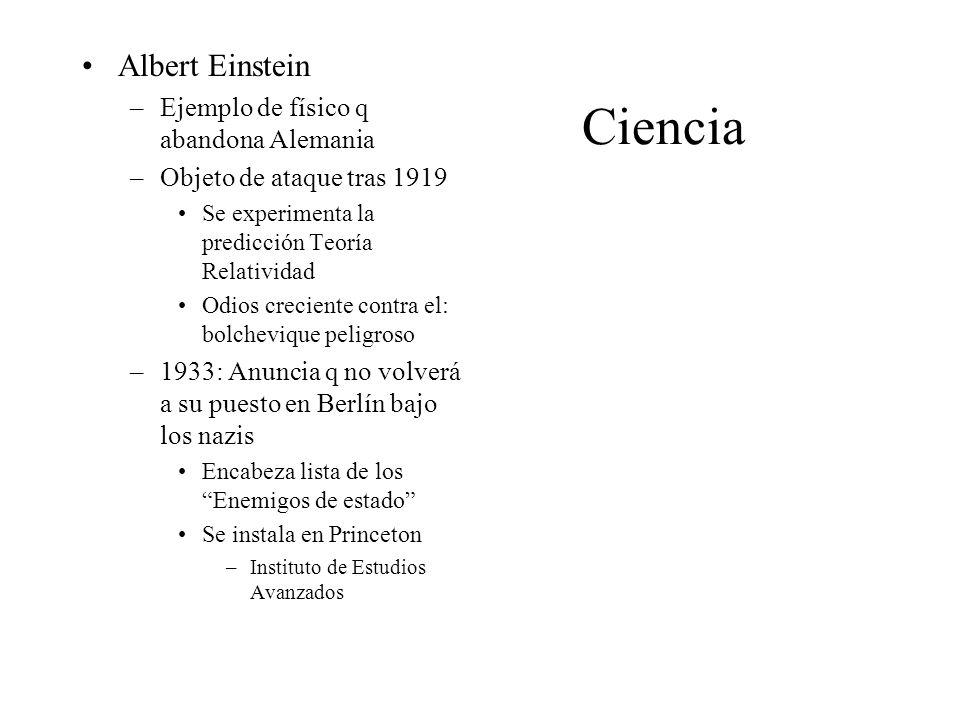 Ciencia Albert Einstein –Ejemplo de físico q abandona Alemania –Objeto de ataque tras 1919 Se experimenta la predicción Teoría Relatividad Odios creci