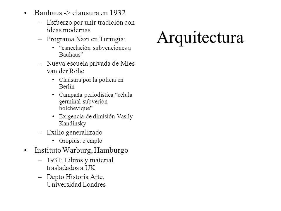 Arquitectura Bauhaus -> clausura en 1932 –Esfuerzo por unir tradición con ideas modernas –Programa Nazi en Turingia: cancelación subvenciones a Bauhau