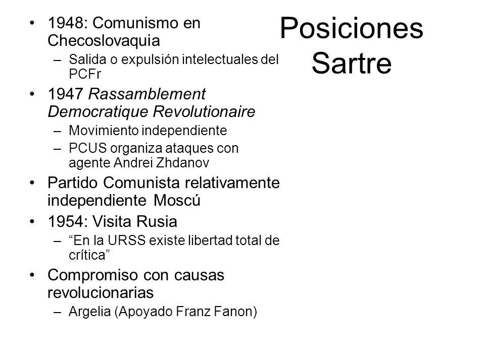 Posiciones Sartre 1948: Comunismo en Checoslovaquia –Salida o expulsión intelectuales del PCFr 1947 Rassamblement Democratique Revolutionaire –Movimie