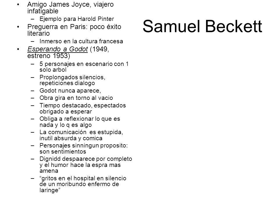 Samuel Beckett Amigo James Joyce, viajero infatigable –Ejemplo para Harold Pinter Preguerra en Paris: poco éxito literario –Inmerso en la cultura fran
