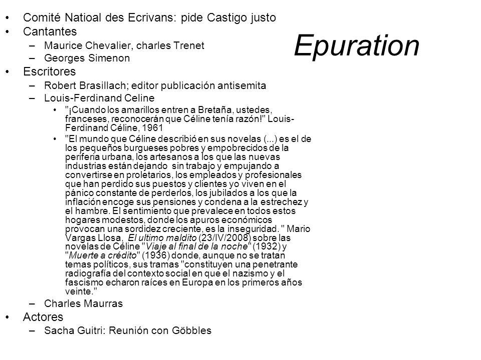 Epuration Comité Natioal des Ecrivans: pide Castigo justo Cantantes –Maurice Chevalier, charles Trenet –Georges Simenon Escritores –Robert Brasillach;