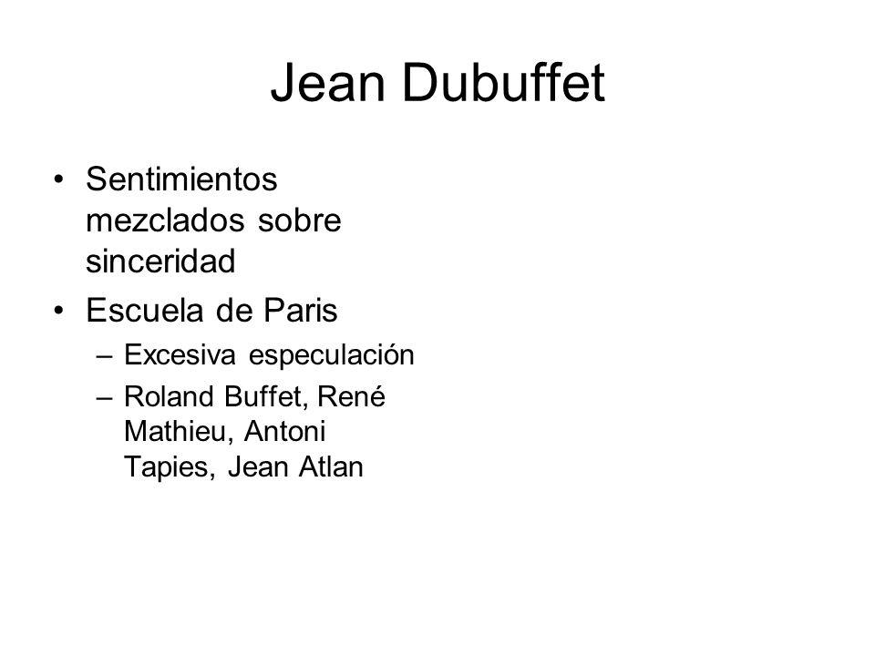 Jean Dubuffet Sentimientos mezclados sobre sinceridad Escuela de Paris –Excesiva especulación –Roland Buffet, René Mathieu, Antoni Tapies, Jean Atlan