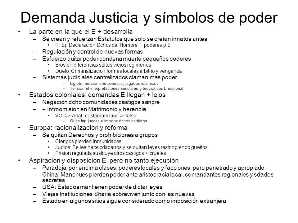 Demanda Justicia y símbolos de poder La parte en la que el E + desarrolla –Se crean y refuerzan Estatutos que solo se creían innatos antes P. Ej: Decl