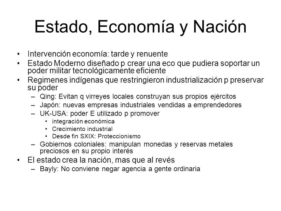 Estado, Economía y Nación Intervención economía: tarde y renuente Estado Moderno diseñado p crear una eco que pudiera soportar un poder militar tecnol