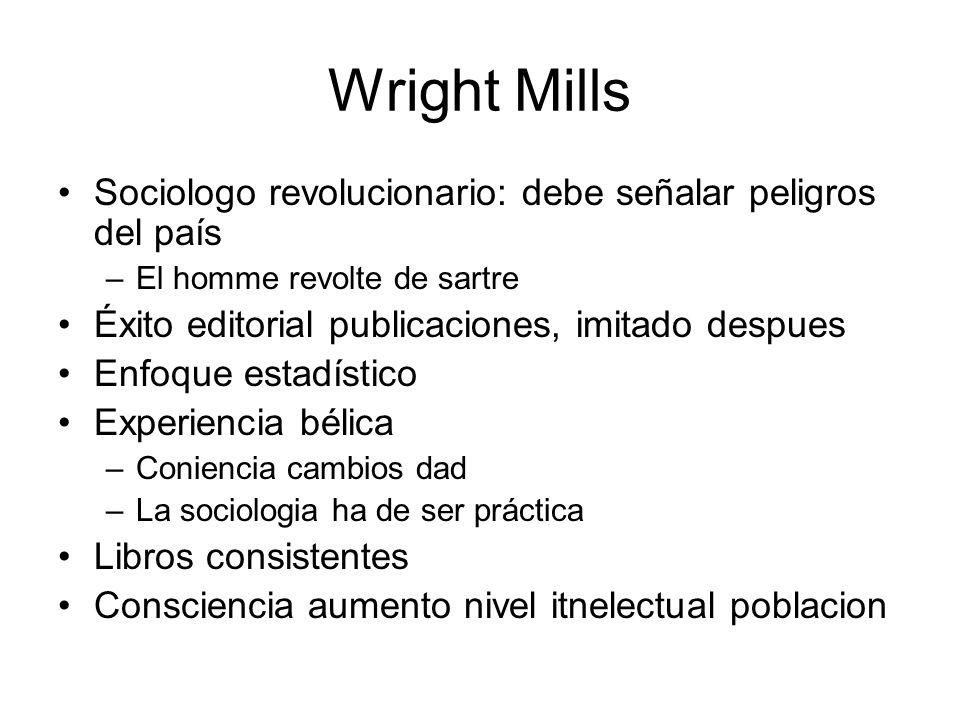 Wright Mills Sociologo revolucionario: debe señalar peligros del país –El homme revolte de sartre Éxito editorial publicaciones, imitado despues Enfoq
