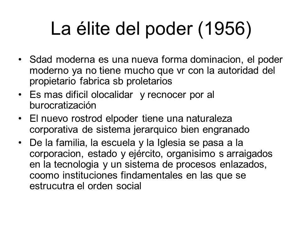 La élite del poder (1956) Sdad moderna es una nueva forma dominacion, el poder moderno ya no tiene mucho que vr con la autoridad del propietario fabri