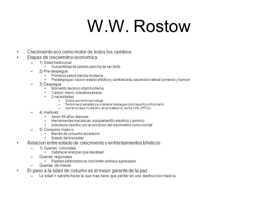 W.W. Rostow Crecimeinto eco como motor de todos los cambios Etapas de creciemitno economica –1) Sdad tradicional Suscentibles de cambio pero ha de ser