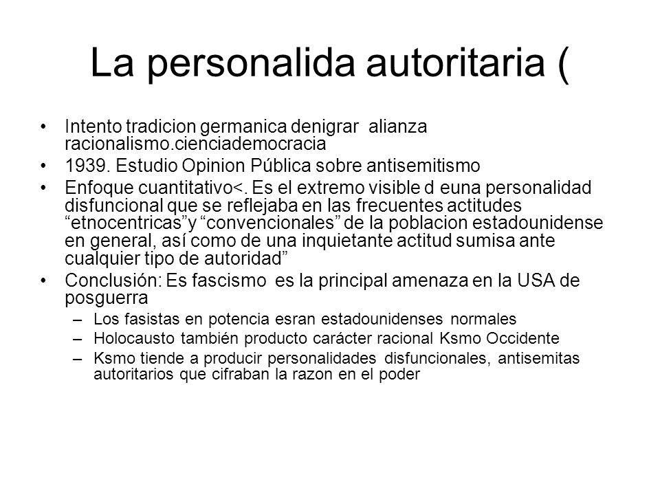 La personalida autoritaria ( Intento tradicion germanica denigrar alianza racionalismo.cienciademocracia 1939. Estudio Opinion Pública sobre antisemit