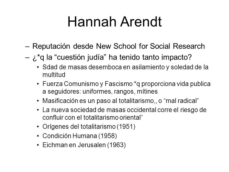 Hannah Arendt –Reputación desde New School for Social Research –¿*q la cuestión judía ha tenido tanto impacto? Sdad de masas desemboca en asilamiento