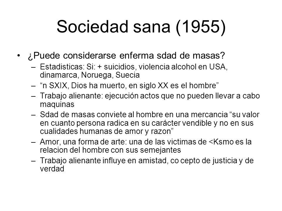Sociedad sana (1955) ¿Puede considerarse enferma sdad de masas? –Estadisticas: Si: + suicidios, violencia alcohol en USA, dinamarca, Noruega, Suecia –