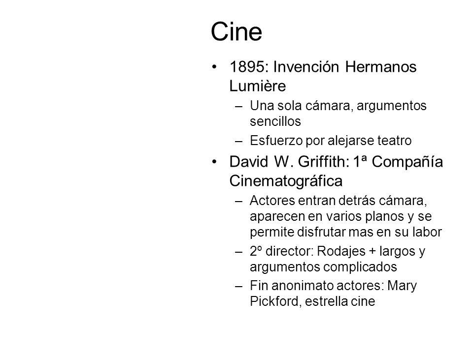Cine 1895: Invención Hermanos Lumière –Una sola cámara, argumentos sencillos –Esfuerzo por alejarse teatro David W. Griffith: 1ª Compañía Cinematográf