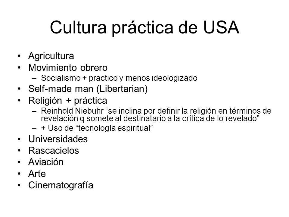Cultura práctica de USA Agricultura Movimiento obrero –Socialismo + practico y menos ideologizado Self-made man (Libertarian) Religión + práctica –Rei