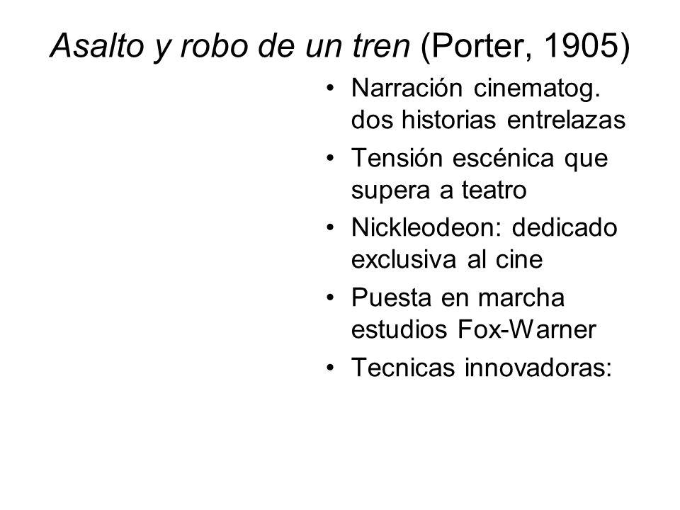 Asalto y robo de un tren (Porter, 1905) Narración cinematog. dos historias entrelazas Tensión escénica que supera a teatro Nickleodeon: dedicado exclu