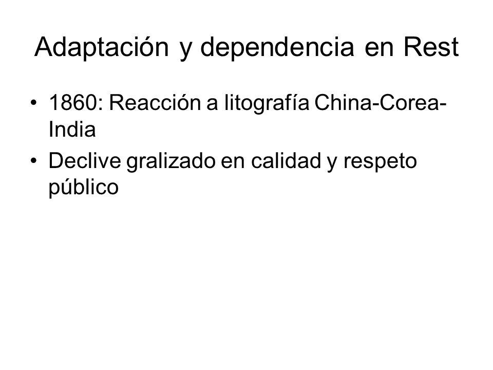 Adaptación y dependencia en Rest 1860: Reacción a litografía China-Corea- India Declive gralizado en calidad y respeto público