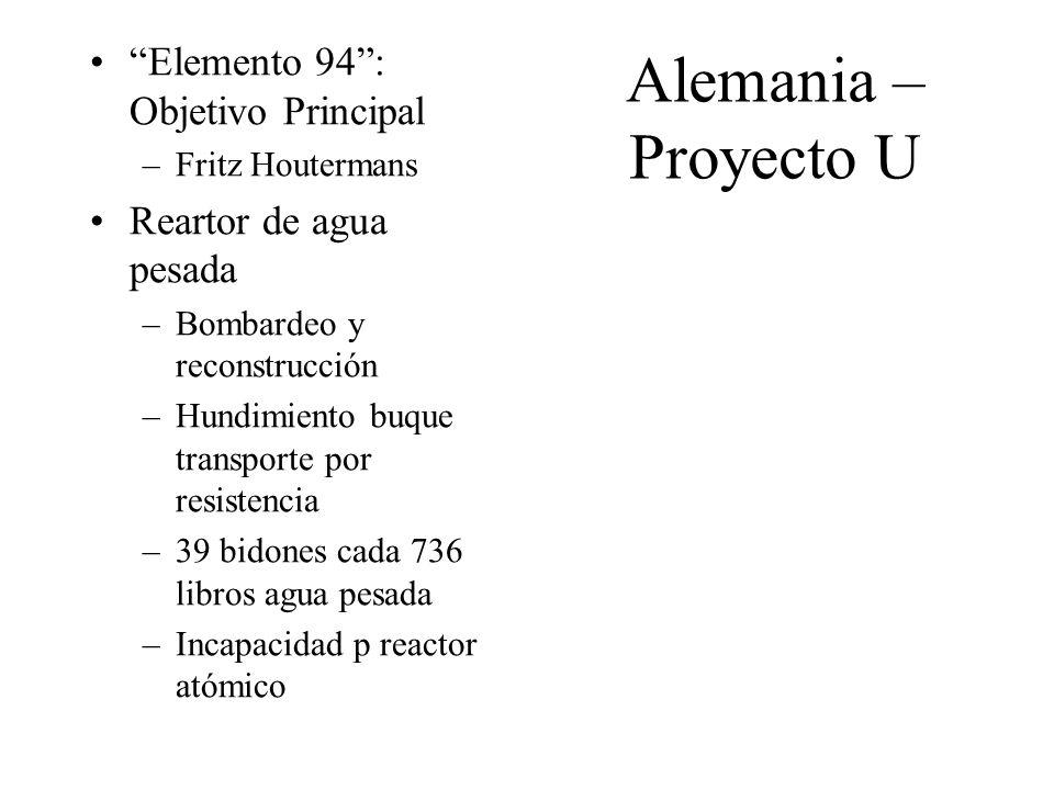 Alemania – Proyecto U Elemento 94: Objetivo Principal –Fritz Houtermans Reartor de agua pesada –Bombardeo y reconstrucción –Hundimiento buque transpor