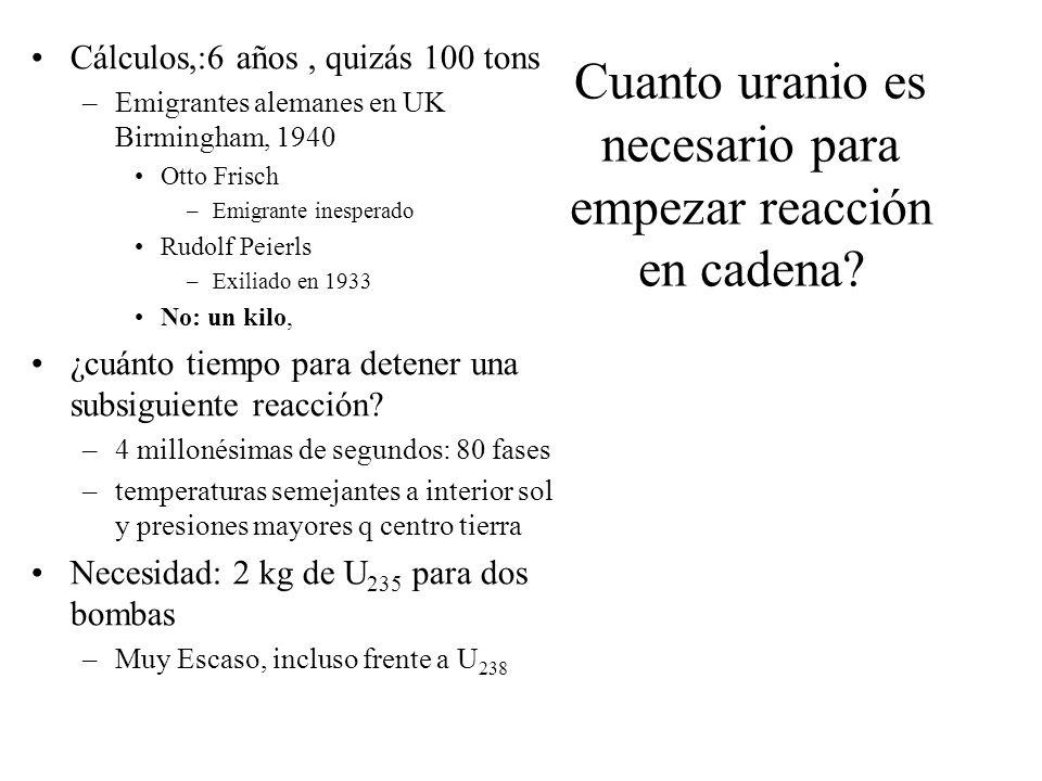 Cuanto uranio es necesario para empezar reacción en cadena? Cálculos,:6 años, quizás 100 tons –Emigrantes alemanes en UK Birmingham, 1940 Otto Frisch
