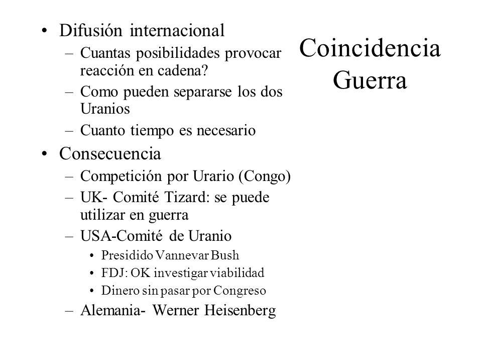 Coincidencia Guerra Difusión internacional –Cuantas posibilidades provocar reacción en cadena? –Como pueden separarse los dos Uranios –Cuanto tiempo e