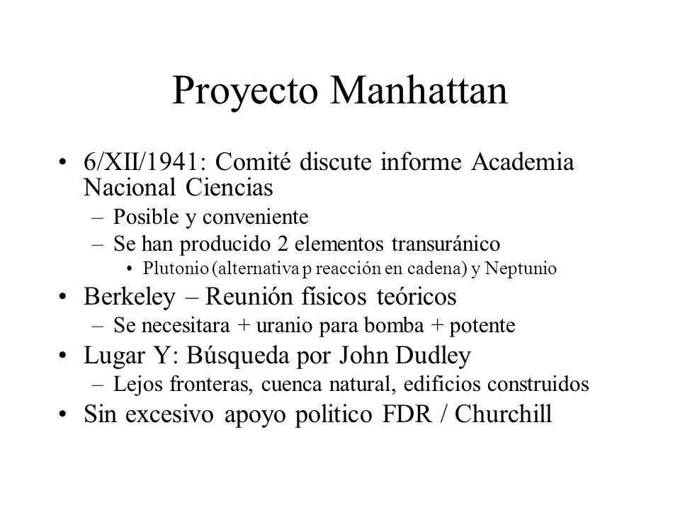 Proyecto Manhattan 6/XII/1941: Comité discute informe Academia Nacional Ciencias –Posible y conveniente –Se han producido 2 elementos transuránico Plu