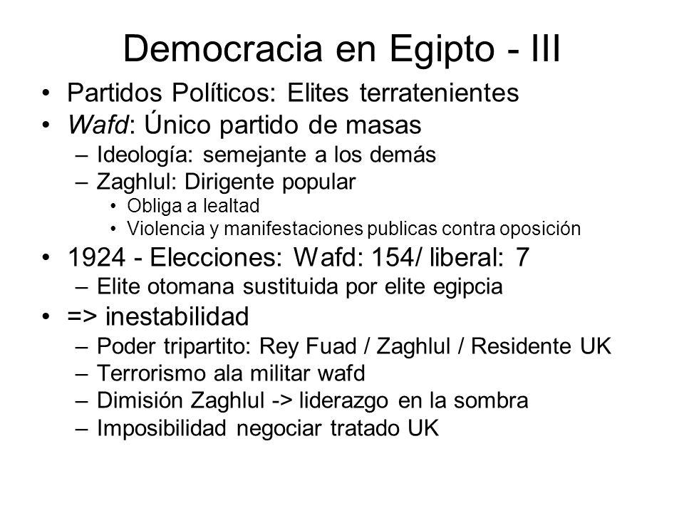 Democracia en Egipto - III Partidos Políticos: Elites terratenientes Wafd: Único partido de masas –Ideología: semejante a los demás –Zaghlul: Dirigent