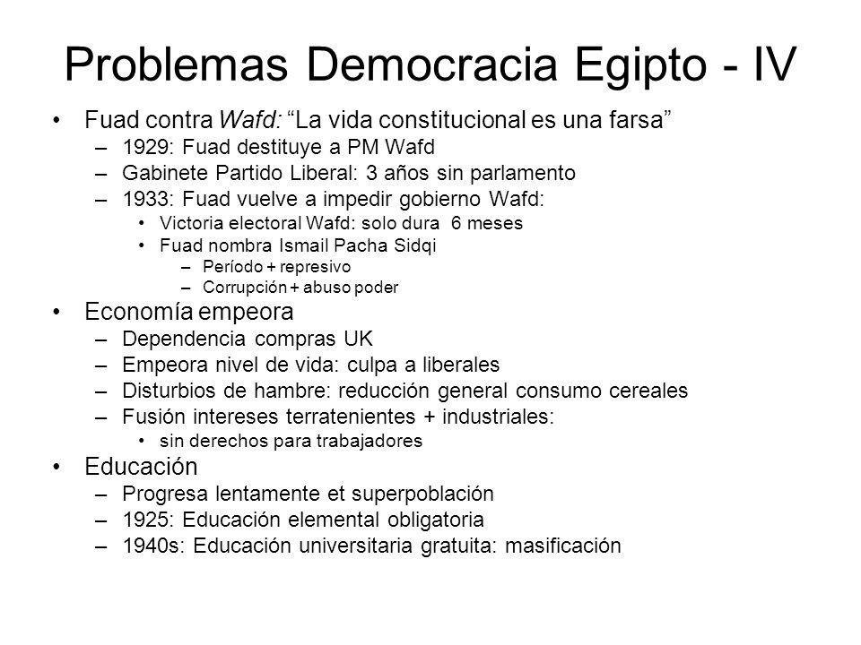 Problemas Democracia Egipto - IV Fuad contra Wafd: La vida constitucional es una farsa –1929: Fuad destituye a PM Wafd –Gabinete Partido Liberal: 3 añ
