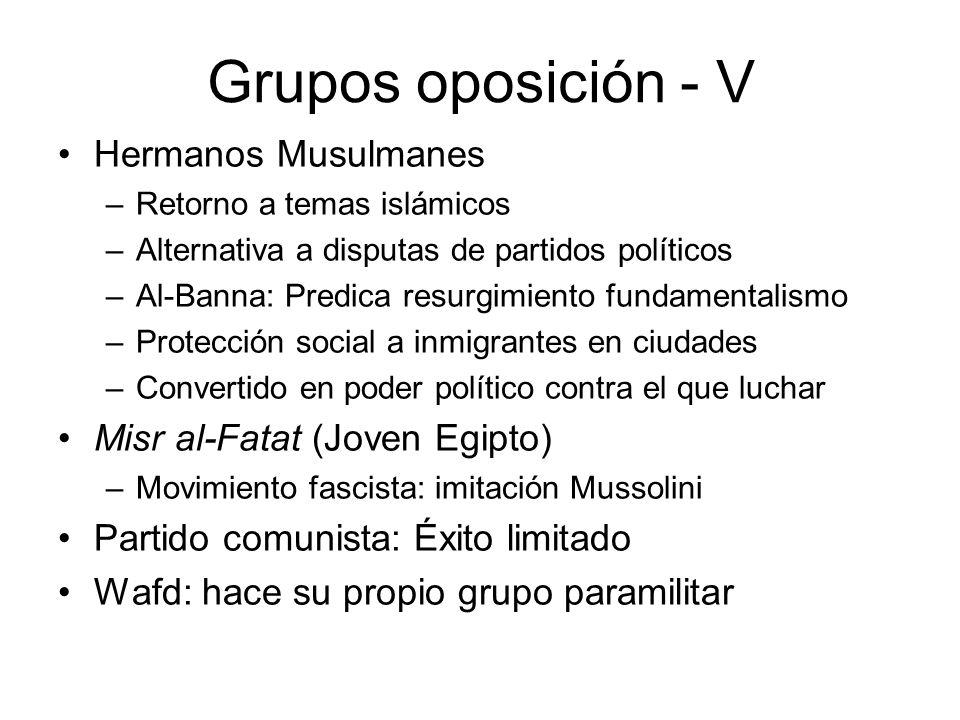 Grupos oposición - V Hermanos Musulmanes –Retorno a temas islámicos –Alternativa a disputas de partidos políticos –Al-Banna: Predica resurgimiento fun