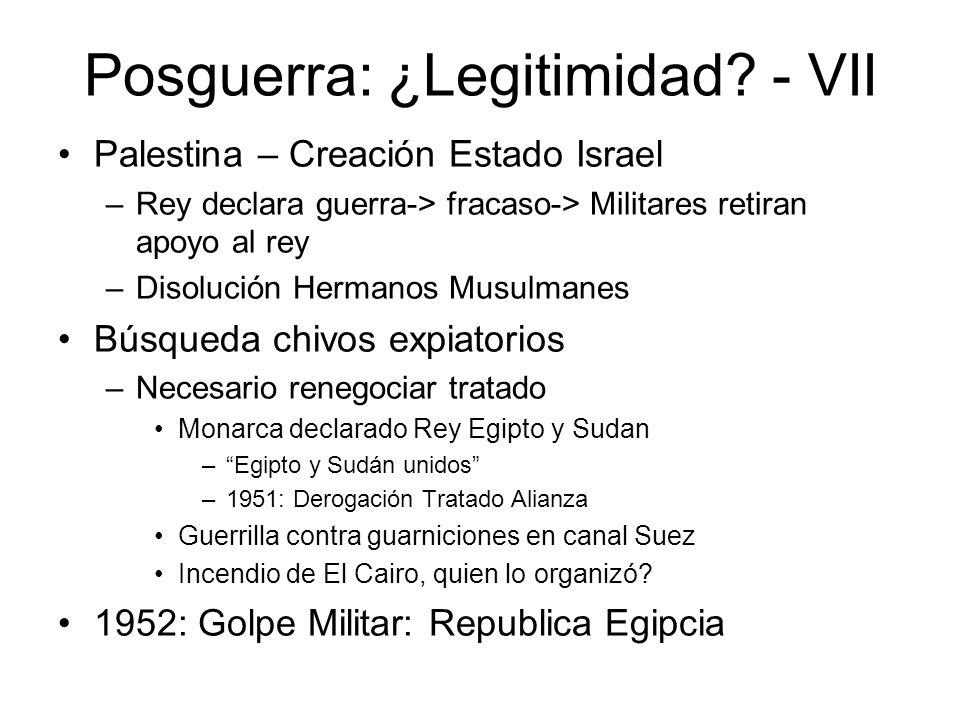 Posguerra: ¿Legitimidad? - VII Palestina – Creación Estado Israel –Rey declara guerra-> fracaso-> Militares retiran apoyo al rey –Disolución Hermanos