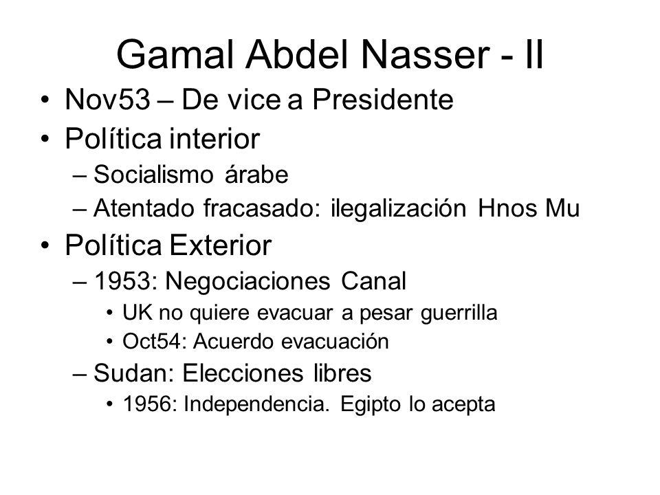 Gamal Abdel Nasser - II Nov53 – De vice a Presidente Política interior –Socialismo árabe –Atentado fracasado: ilegalización Hnos Mu Política Exterior