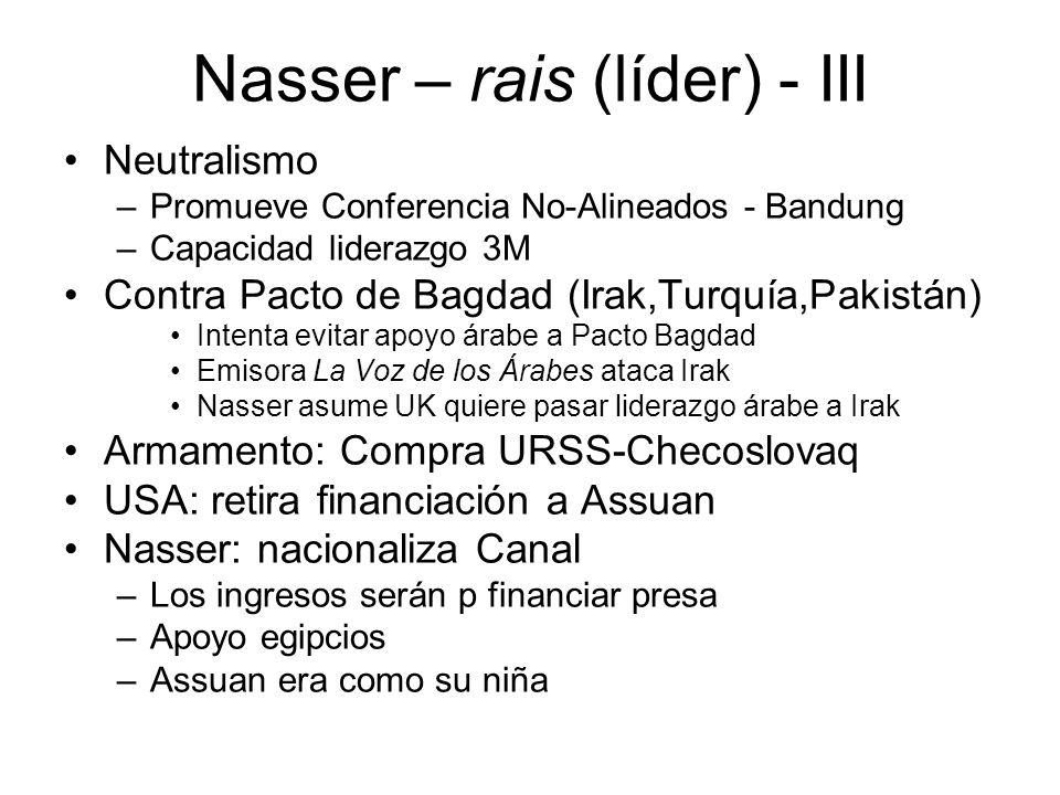 Nasser – rais (líder) - III Neutralismo –Promueve Conferencia No-Alineados - Bandung –Capacidad liderazgo 3M Contra Pacto de Bagdad (Irak,Turquía,Paki